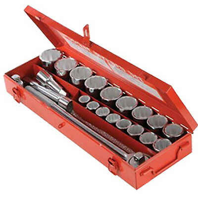 "Silverline 3/4"" Drive Metric Socket Set 21Piece 19-50mm With Metal Storage Case"