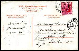 British-Ceylon-a-la-Grande-Bretagne-Re-Envoye-carte-postale-1906-VF