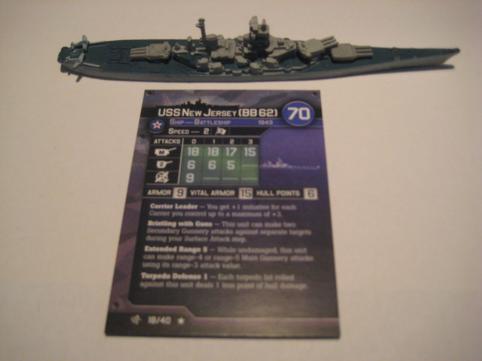 AXIS & ALLIES WAR AT SEA SURFace ACTION USS New Jersey x1