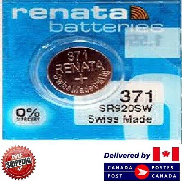 1 PC Renata 371 Watch Batteries 0% MERCURY SR920SW Swiss Made CDN SELLER