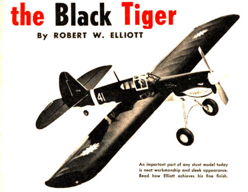 Model Airplane Plans (UC): Black Tiger 45 Semi-Scale Stunt for .29-.35 Engine