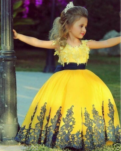 Ball Gown 2016 Cute Flower Girl Dress Princess Yellow&Black Applique New Arrival