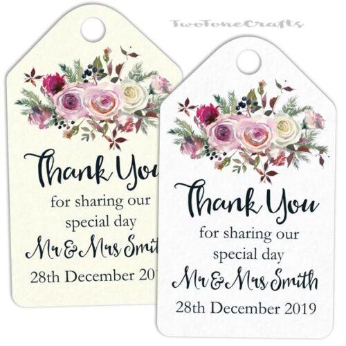 Personnalisé Cadeau de mariage faveur balises//Luggage Label Floral Jour Spécial FL21SD