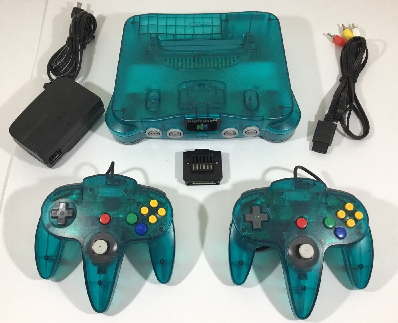 ICE BLUE Teal Nintendo 64 N64 System Console Bundle + 2 NEW ...