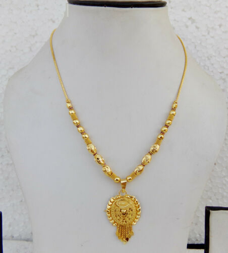 Ethnique Indien du Sud 22k or Collier Nuptiale Fashion Jewelry Chaîne Pendentif