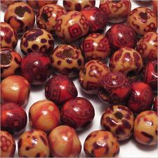 Lot Mix 100 perles en Bois Décorées 10mm