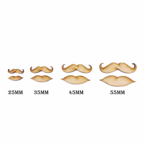 35 45 /& 55mm Lips /& Moustaches Mixed Sizes 25 19 x Laser Cut MDF shapes