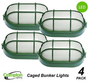 LED Bunker Light Outdoor Plain Glass Oval Metal Aluminium Small Green IP44