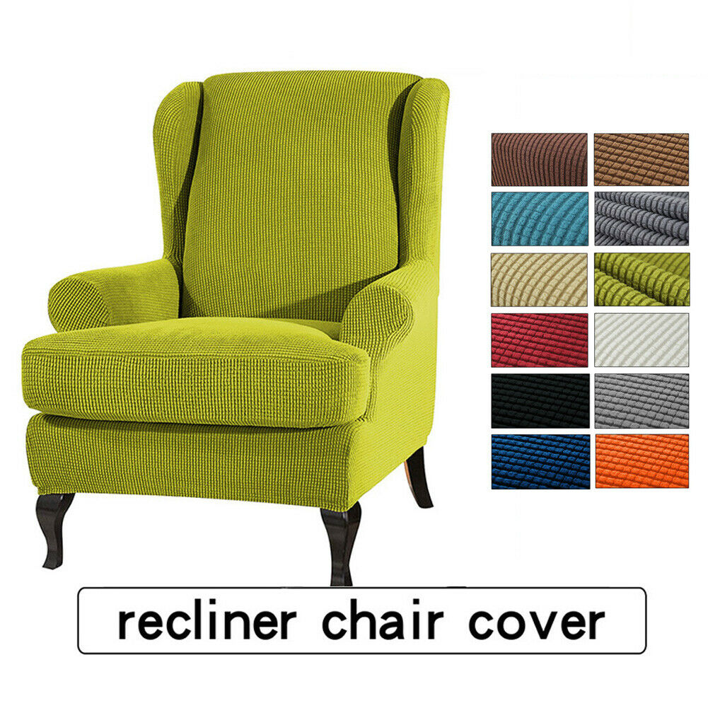 Details About 2 Separate Piece Stretch Recliner Chair Cover Wing Back Arm Sofa Slipcover