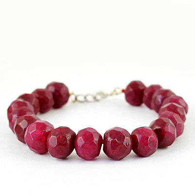 PREMIUM QUALITY 310.05 CTS EARTH MINED ROUND CUT RICH RED RUBY BEADS BRACELET