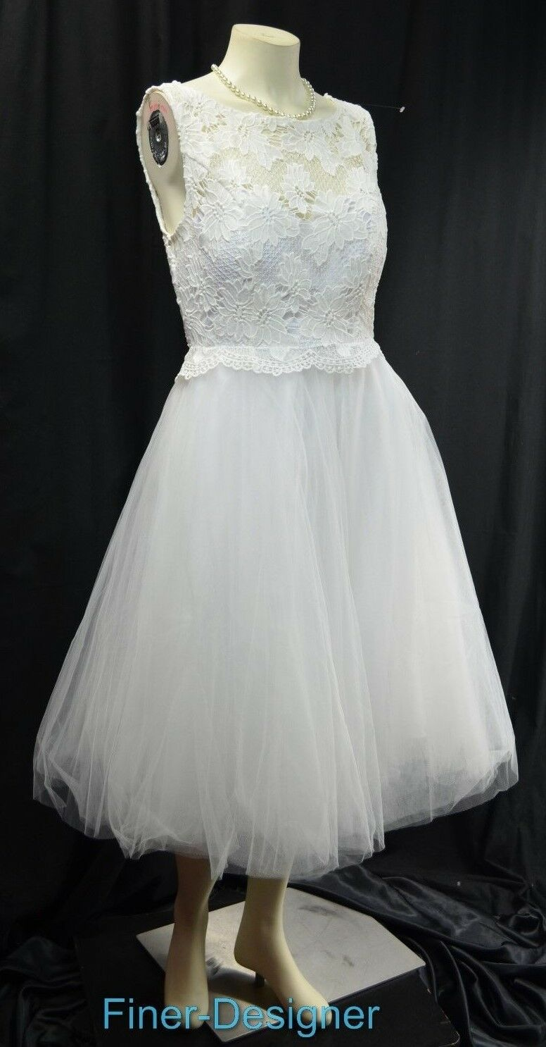 ModCloth Ready Ready Ready Set Romance White Bridal Wedding Dress lace knee gown tulle M NEW 09edf7