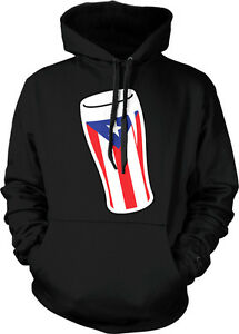 Puerto Rican Flag Beer Glass - PR Puerto Rico Drinking  Hoodie Pullover