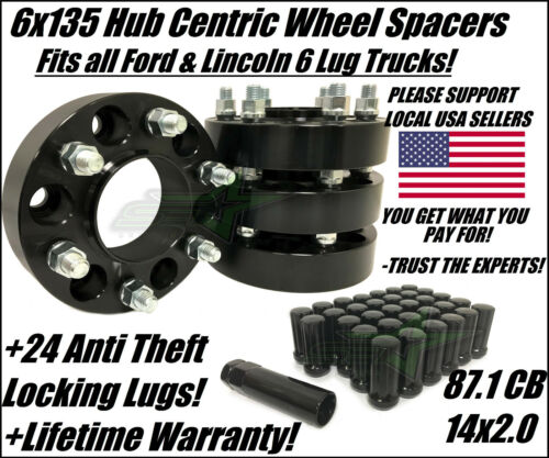 6X135 BLACK WHEEL SPACERS 2 INCH FITS FORD RAPTOR F150 EXPEDITION 24 SPLINE LUGS