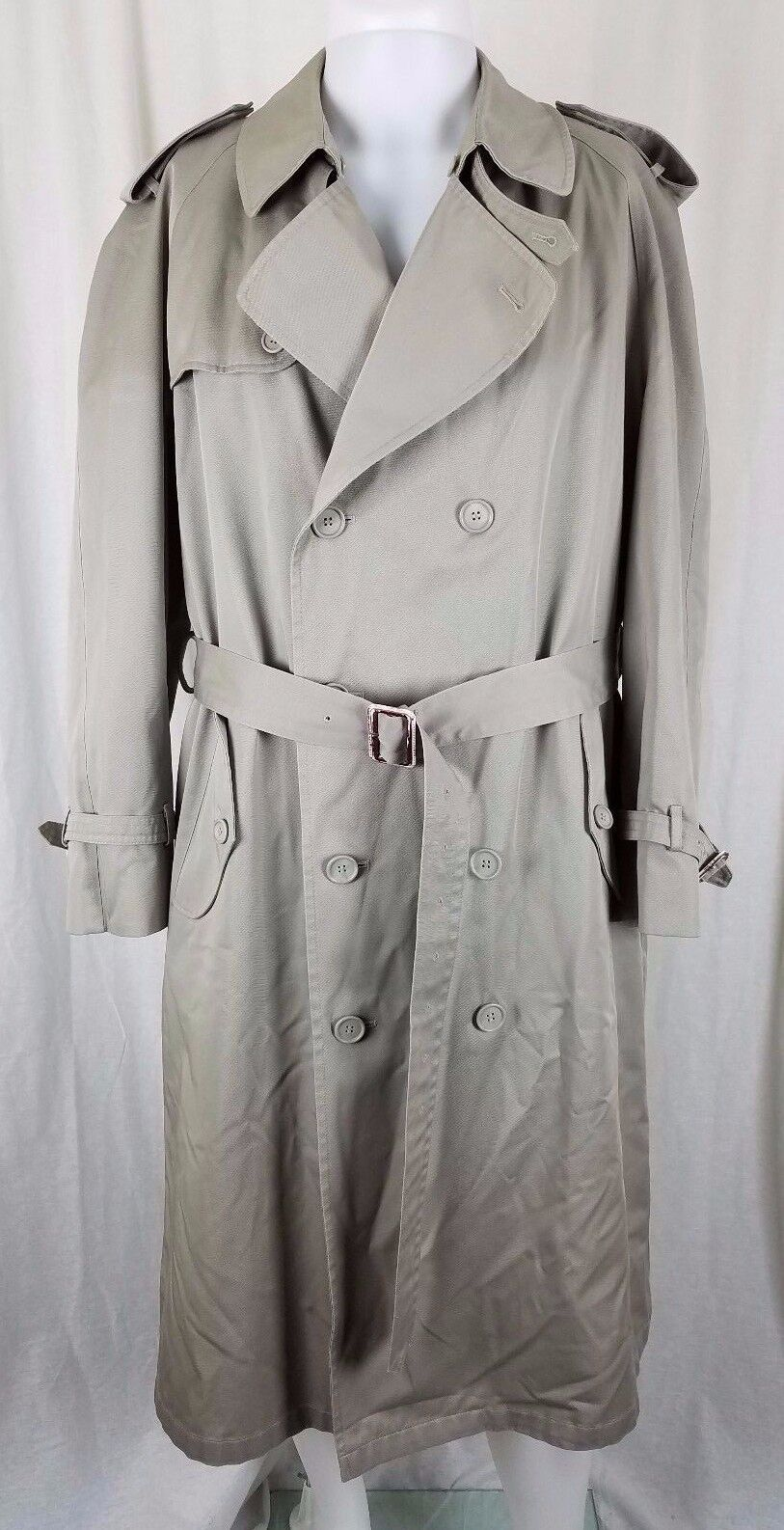 Stafford Insulated Double Breasted Trench Coat  Herren 42R Removable Lining Khaki