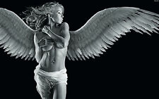 Framed Print - Gothic Naked Angel with Wings Spread (Picture Poster Art Bible)