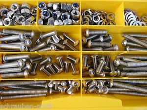 360 Teile Edelstahl V2A Schrauben ISO 7380 Muttern Box M4 M8 Niro Torx