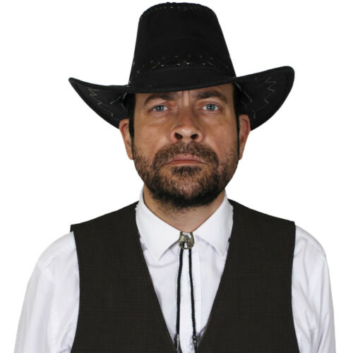 BLACK FAUX SUEDE COWBOY HAT AND BOOTLACE TIE SHERIFF WILD WEST FANCY DRESS