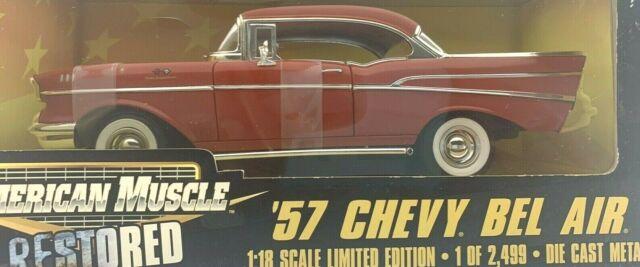 #32414 Ertl American Muscle Restored Red 1957 Chevy Bel Air  Die Cast 1:18