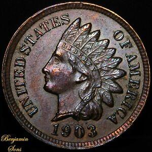 Toned 1903 Indian Head Penny 1c 0030920-01E Free Shipping!