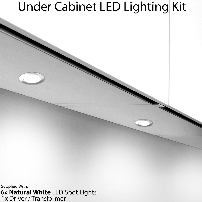 6x 2.6W LED Kitchen Cabinet Spot Light & Driver -Flush Chrome-Natural Cool Weiß