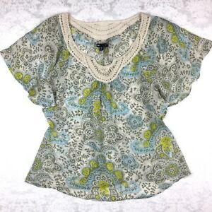 Fairy-Festival-Top-XS-Blouse-Boho-Butterfly-Sleeves-Fall-Paisley-Macrame-Gap-2-4