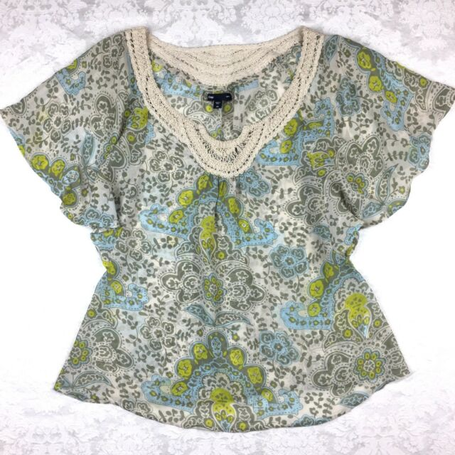 Fairy Festival Top XS Blouse Boho Butterfly Sleeves Fall Paisley Macrame Gap 2 4