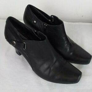 Marco-Tozzi-Ladies-Black-Leather-Ankle-Shoes-Heels-Size-7-EUR-40
