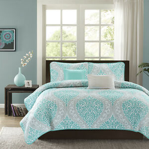 Modern Chic Blue Teal Aqua White Grey Beach Ocean Textured
