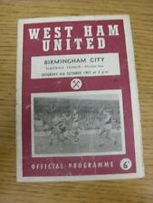 06/10/1962 West Ham United v Birmingham City  (Heavy creased, Folded, Worn, Scor