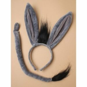 DONKEY Ears /& Tail Set Headband Fancy Dress Costume Accessory ONE SIZE FITS ALL