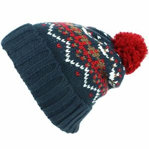 87aee9c898e Chunky Knit Fleece Lined Fairisle Bobble Beanie Hat Blue Grey New ...