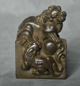 """3,4"""" Ancien Chine Cuivre Bronze Dynastie Palais Pixiu Bête Balle Timbre Sceau"""