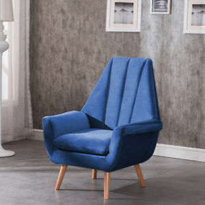 Upholstered Wing High Back Accent Chair Armchair Lounge Sofa Velvet