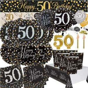 AGE-50-Happy-50th-Birthday-BLACK-amp-GOLD-SPARKLES-Party-Range-Banners-Balloons