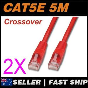 2x-5m-Cat5E-Crossover-Red-Ethernet-Network-LAN-Patch-Cable-Lead