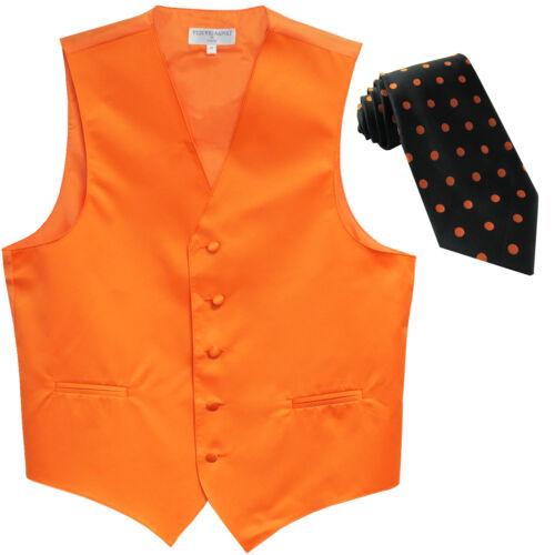 New Men/'s Formal orange Vest Tuxedo Waistcoat/_black orange dots necktie wedding