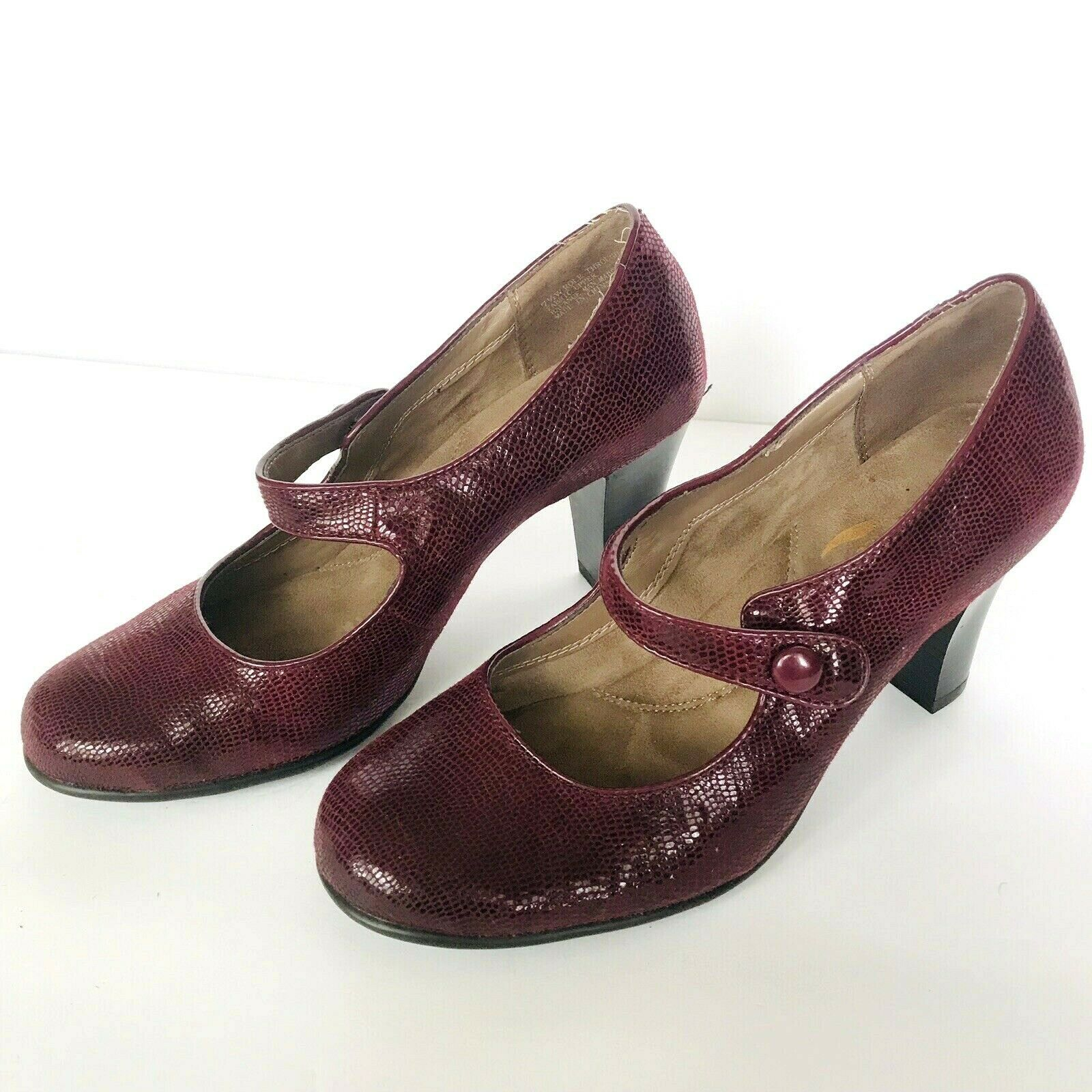 Aerosoles heelrest Bourgogne du LOGO en cuir Mary Jane Talons chaussures Femme 8