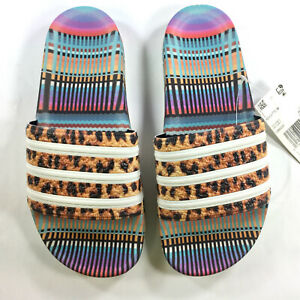 63a8b5247 New WOMENS Adidas ADILETTE FARM Sandals Slides Flop Flops Leopard ...