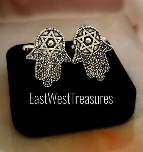 Hamsa hand Jewish Star of david Judaica cufflinks cuff links suit tie for men