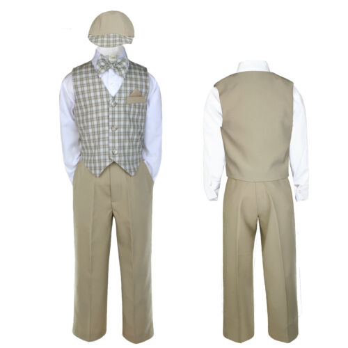 Baby Boy Toddler Wedding Checker Gingham Black Khaki Navy Formal Vest Suit S-4T
