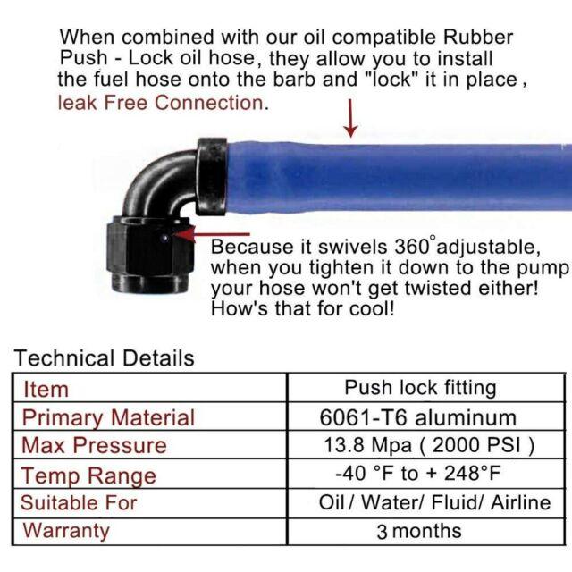 Push On Loc Fittings Kit 8AN AN-8 Push Lock Fuel Line Hose Black 20FT 6M