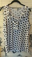Plus size pin up white polka top ruffle top 1X