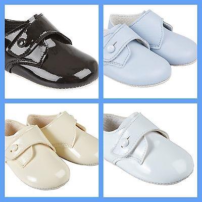 Baby Boys Soft Pram Shoes *BayPods* Navy or Soft Blue  Hole Punch Matte White