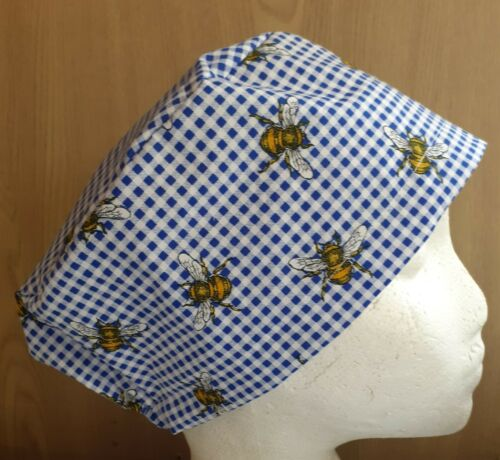 BEES ON GINGHAM theatre hat hospital scrub cap hat odp surgeon doctor nurse vet