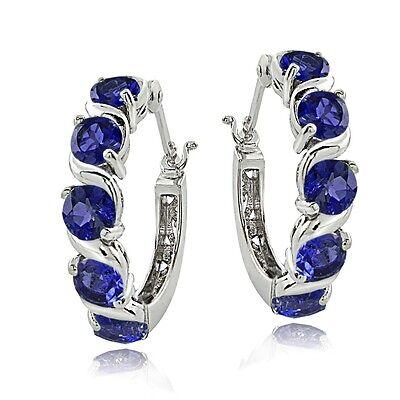 Sterling Silver 2.30ct TGW Created Blue Sapphire S Hoop Earrings
