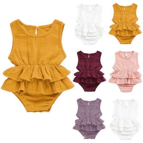 Infant Babys Girls Romper Bodysuit Summer Ruffle Princess Dress Outfit Jumpsuits