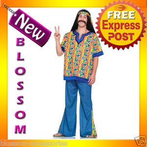 C603-Mens-60-039-s-70-039-s-Far-Out-Peace-Hippie-Halloween-Fancy-Dress-Adult-Costume