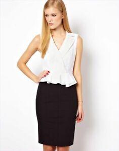 Pretty-Karen-Millen-Negro-y-Blanco-Daisy-Peplum-Vestido-UK-8-nos-4-Oficina-de-Trabajo