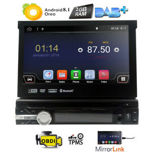 Single-1-DIN-7-034-Android-8-1HD-Flip-Up-GPS-Navigation-Car-Stereo-CD-DVD-Radio-DAB