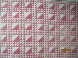 Antique-1880-039-s-Quilt-Cinnamon-Pink-Lady-of-the-Lake-brown-white-shirting-print-b